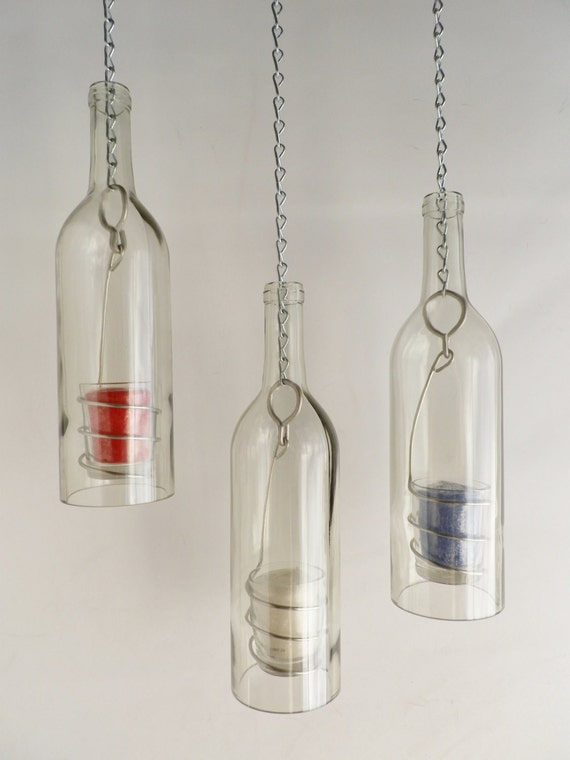 Patriotic Red White and Blue Candles Wine Bottle Candle Holder Hanging Hurricane Lanterns.
