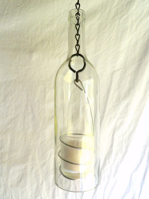 Clear Glass Wine Bottle Candle Holder Hanging Hurricane Lantern