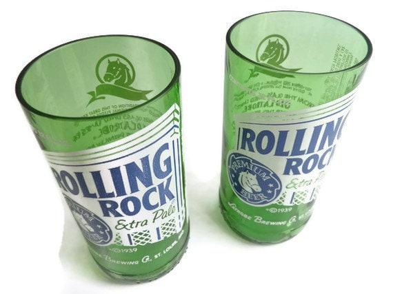 Beer Bottle Drinking Glasses Rolling Rock Tumblers Set Of 2