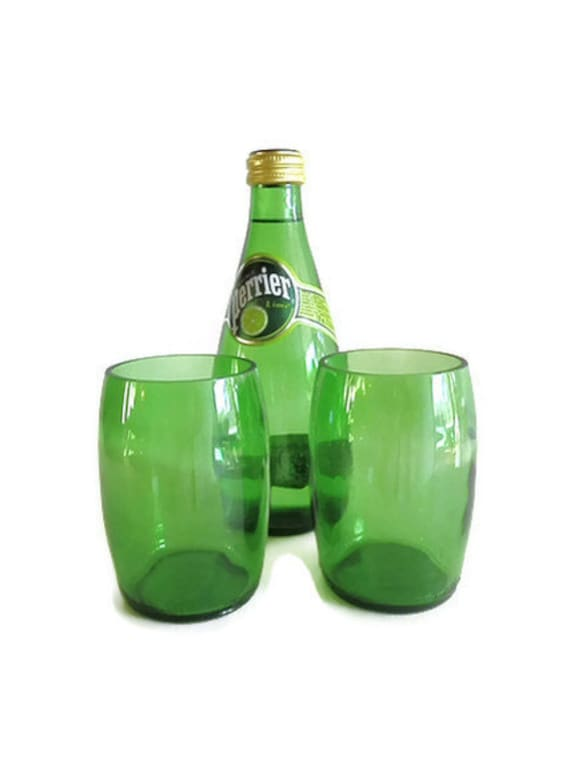 Perrier Mineral Water Bottle Drinking Glasses Tumblers Set Of 2