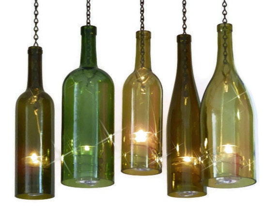 Wine bottle candle holder hurricane lantern hanging gold 1 5 for How to make candle holders out of wine bottles