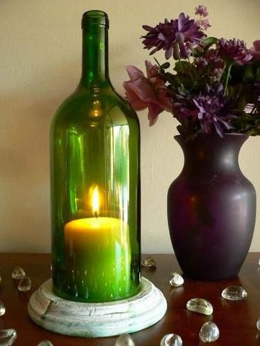 Green wine bottle candle holder hurricane lamp centerpiece for How to make candle holders out of wine bottles