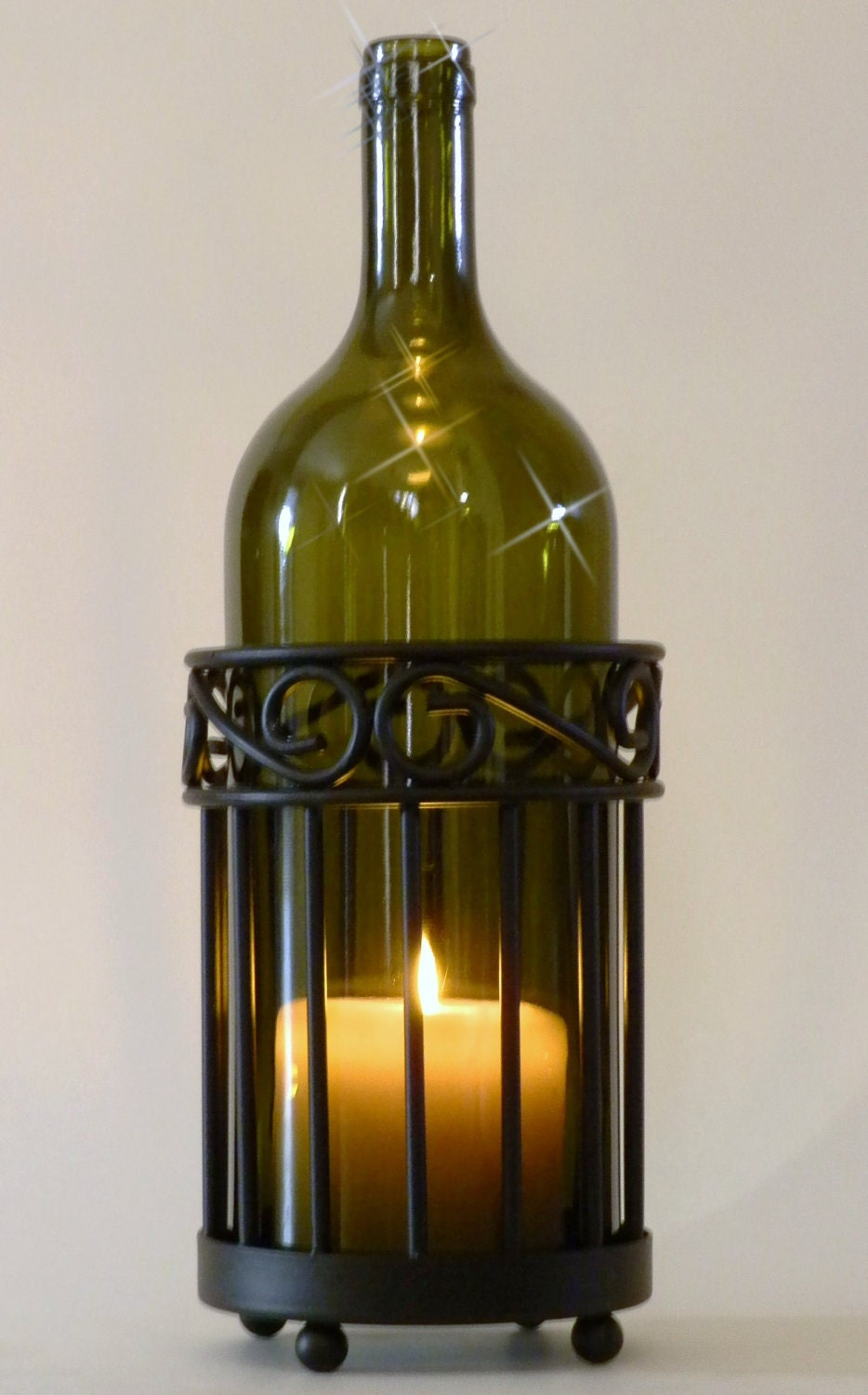Olive wine bottle candle holder hurricane lamp metal for How to make candle holders out of wine bottles