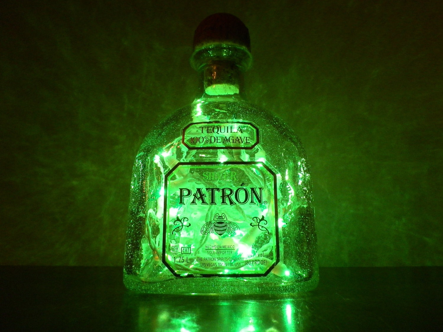 Large Patron Silver Tequila Green Lighted Bottle By Bomolutra