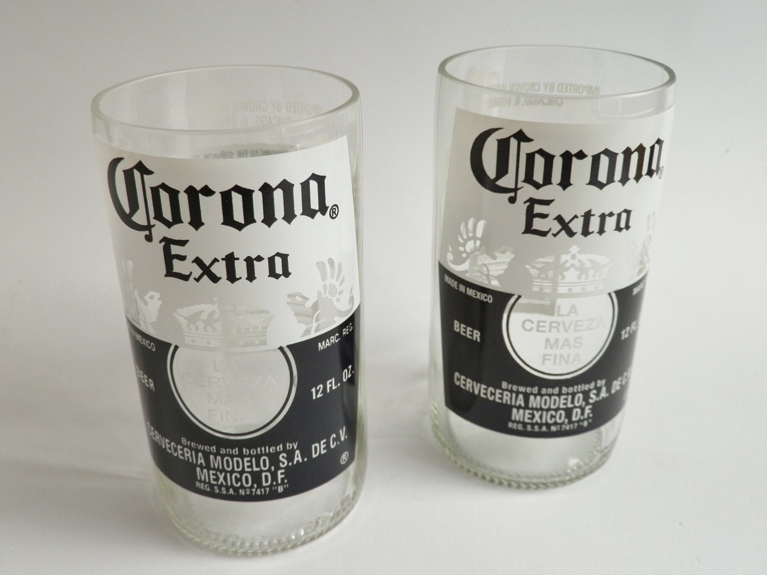 Beer bottle drinking glasses corona extra tumblers set of 2 for How to make corona glasses