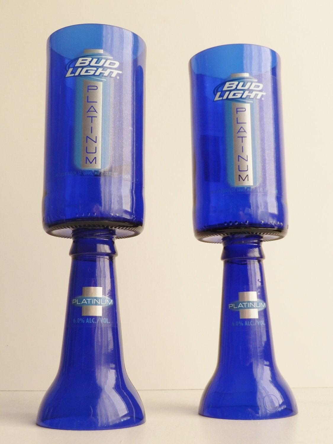Beer Bottle Wine Glasses Blue Bud Light Platinum Goblets
