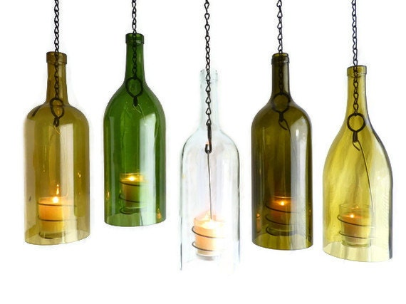 Clear wine bottle hanging hurricane lantern big 1 5l candle for How to make candle holders out of wine bottles