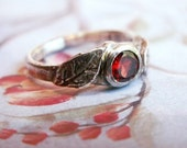 Red Rose Ring, Engraved Silver and Garnet Ring... Carved and Cast Gemstone Ring with Leaves in Sterling Silver - Little Red Rose