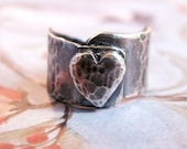 Silver Heart Ring, Sterling Silver Metalwork Band, Hammered, Oxidized, Sculpted Heart