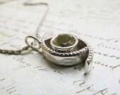 Silver Quartz Pendant... Engraved Sterling Silver and Yellow Lemon Quartz Metalwork Pendant, Fish shape with Wave
