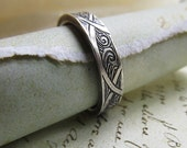 Waves and Arches Celtic Wedding Band, Handmade Engraved 14k White Gold Ring... 5mm