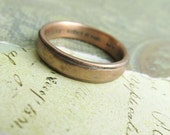 Rustic Men's Ring, 14k Rose Gold Wedding Band, Comfort Fit, Engraved, Stamped, Oxidized Antique Patina, Metalwork Jewelry... 4 x 2mm