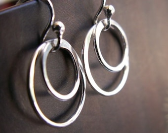 Petite Double Hoop Earrings 14k White Gold, Artisan Metalwork Handmade