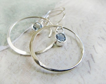 Aquamarine and Gold Crescent Hoop Earrings - Handmade