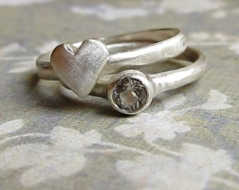 Rustic Heart and Gemstone Stacking Rings, 14k White Gold with white Sapphire, Brushed Finish By James Christian