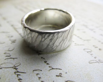 Wide Sterling Silver Ring, Wedding Ring - Men's or Women's Rustic Style with Hammered Texture and Icy Brushed Finish... 10mm