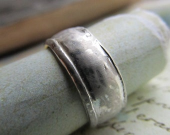 Rustic Wedding Band, Sterling Silver Unisex Ring, Wide, Domed, Metalwork, Brushed, Frosted, Unisex... 8.5mm Wide