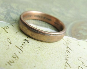 Rustic Gold Wedding Band, 14k Rose Gold, Comfort Fit, Handmade, Engraved, Oxidized Antique Patina... 4 x 2mm