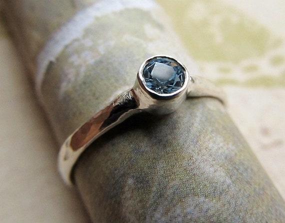Aquamarine Engagement Ring, Sterling Silver Band Wedding and Bridal, Natural Gemstone, Metalwork Stacking Ring