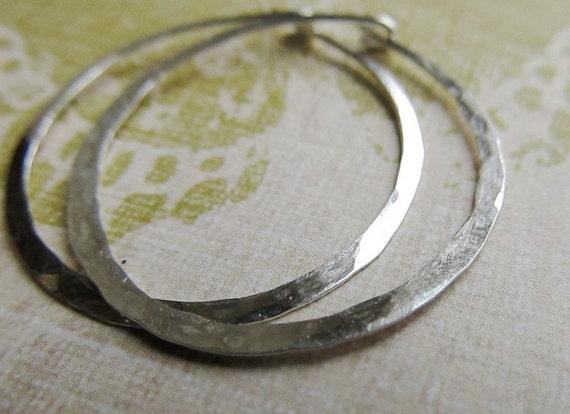 Sterling Silver Hoop Earrings ... Large 1.5 Inch Metalwork Hoops, Continuous Hoops, Handmade Silver Jewelry