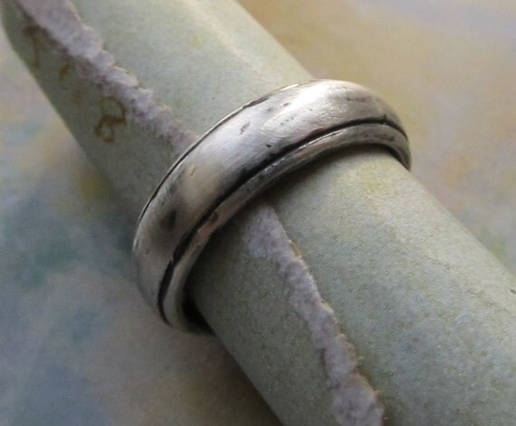 Rustic Men's Wedding Band, Silver Groom's Ring, Comfort Fit, Domed, Sterling Silver, Brushed... 7mm