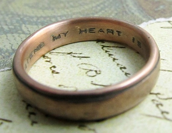 Custom text inside ring (Stamped / Engraved), Wedding Bands, Men's or Womens, HIs Hers, Personalized Script... RING NOT INCLUDED