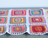 Colorful Vintage Crocheted Throw Blanket