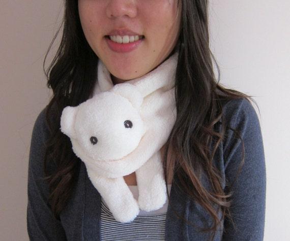ivory polar bear animal scarf