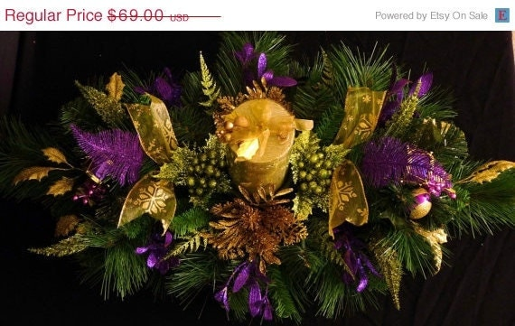 Clearance off christmas centerpiece green purple gold