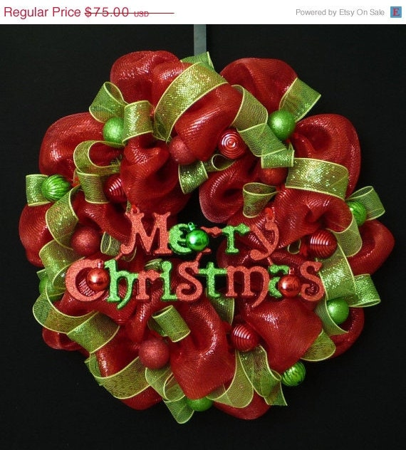 15 off sale merry christmas wreath poly deco mesh red and