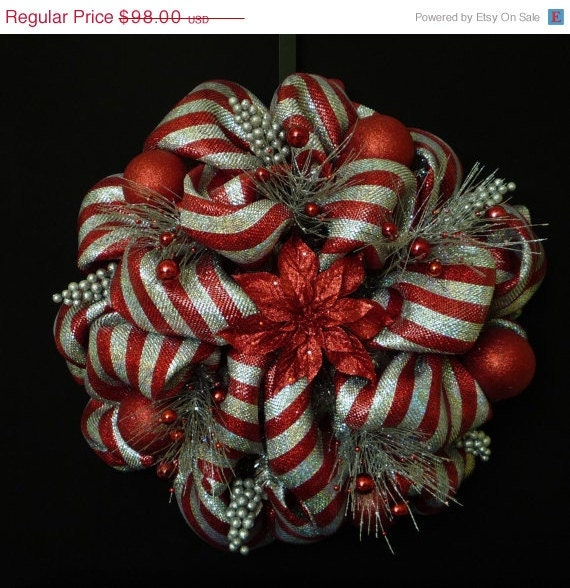 15 Off Sale Christmas Wreath Poly Deco Mesh Wreath Red And