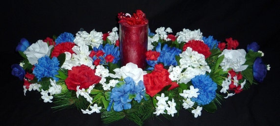 Special Buy - Patriotic Centerpiece, Memorial or Labor Day, Red White Blue Centerpiece  - Item 101