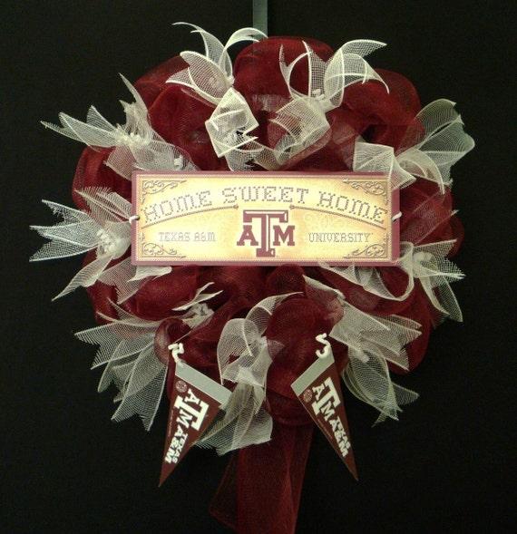 Sports Wreath, College Football, Texas A & M, Door Wreath, Poly Mesh, Poly Mesh Ribbon - Item 517