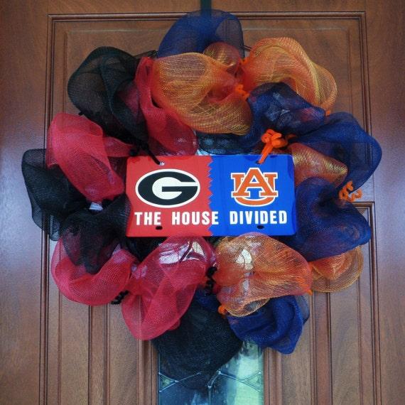 College Sports, College Football, House Divided, Georgia vs Auburn, Door Wreath, Door Wall Decor - Item 521