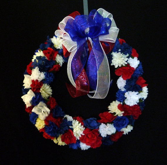 Patriotic Wreath, Red White Blue, 4th of July, Labor Day, Veterans or Memorial Day - Item 569