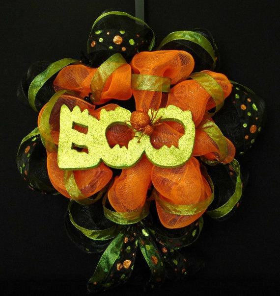 Halloween Wreath, Poly Deco Mesh Wreath, Boo Wreath - Item 311