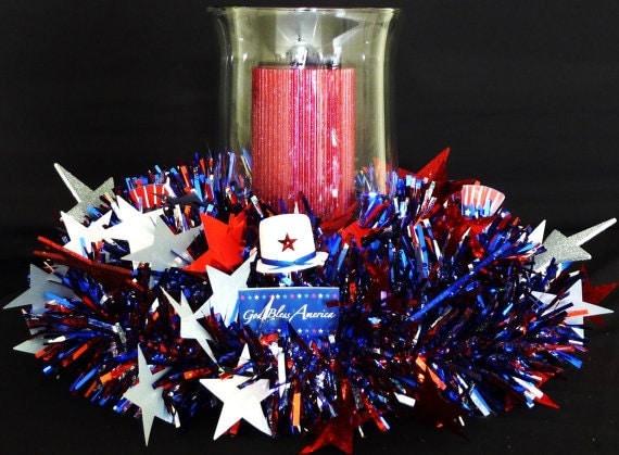 Memorial or Labor Day, Veterans Day, 4th of July, RWB Centerpiece, Patriotic Centerpiece, Table Centerpiece - Item 126