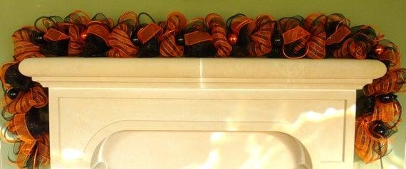Halloween Garland, Poly Mesh Garland, Garland for Doors, Wreaths for the Doors, Orange Black Garland - Item 576