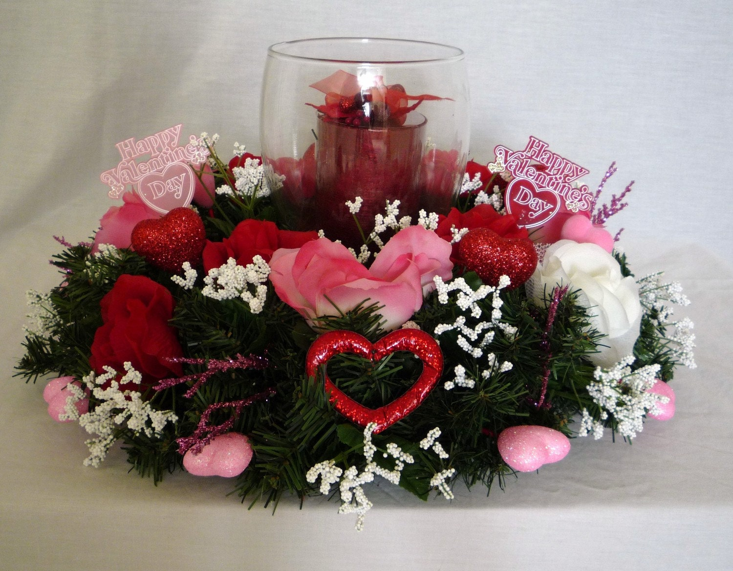 Valentines Day Decor Table Centerpiece Candle Centerpiece