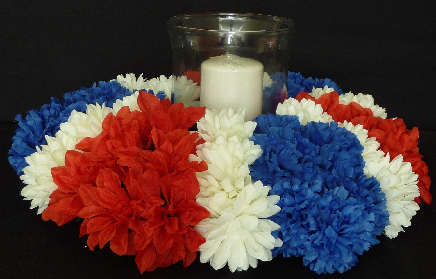 Patriotic Centerpiece Red White Blue Table Decor