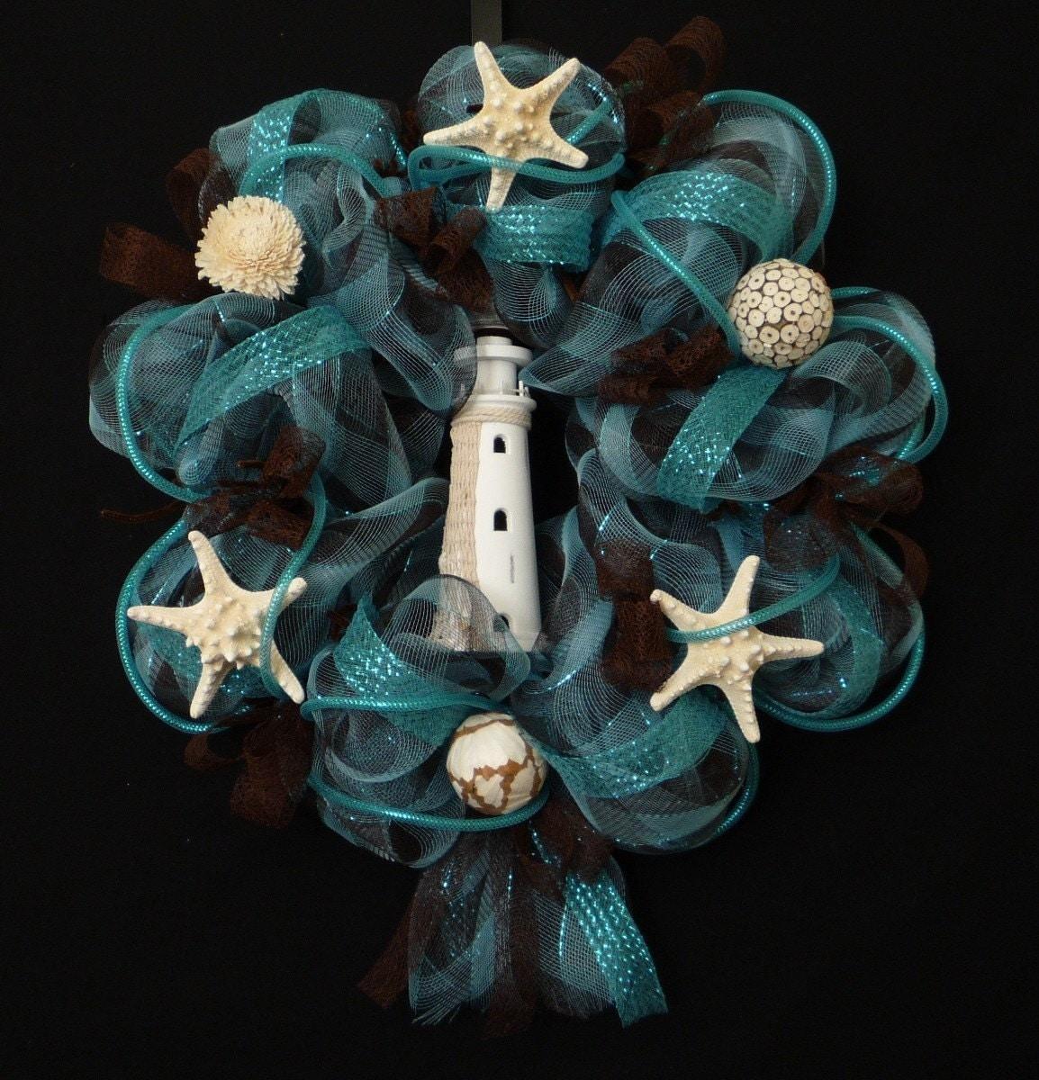 Coral Reef Poly Mesh Beach Wreath Lighthouse Wreath Item