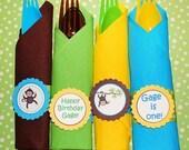 Monkey Napkin Rings - Cutlery Wraps - Set of 12