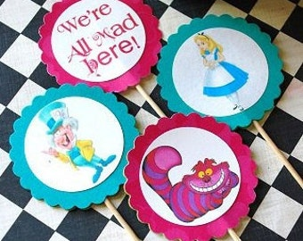 Alice in Wonderland - Mad Hatter Tea Party - Character Cupcake Toppers - 10