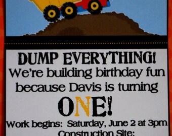 Dump Truck Invitations - Set of 10 - Custom Quantities Available