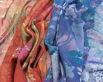 Beautiful Floral with Glitter Accent Chiffon Fabric - Your Choice of 2 Colors