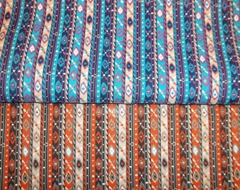 Vintage Small Navajo Print Fabric - Your Choice of 2 Colors