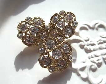 Vintage Rhinestone and Metal Rope Detail Shank Buttons