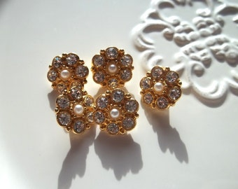 Delicate Pearl and Rhinstone Vintage Buttons