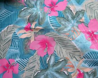 Tropical Print Peach Skin Fabric