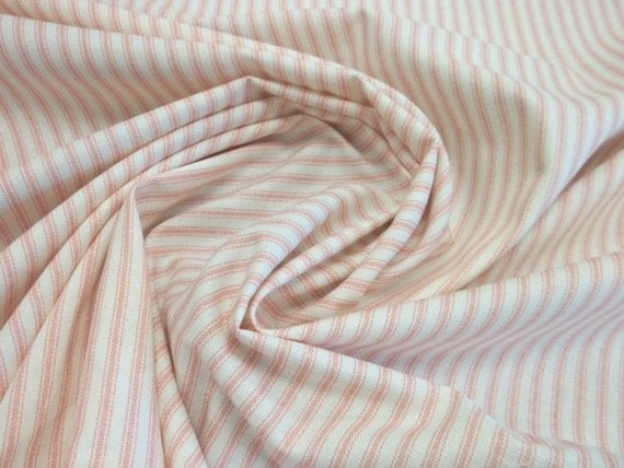 Soft Pink Ticking Stripe Cotton Canvas